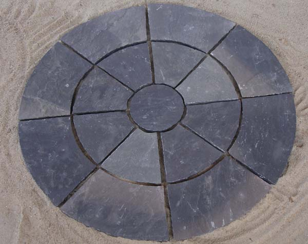 Black sandstone circle paving